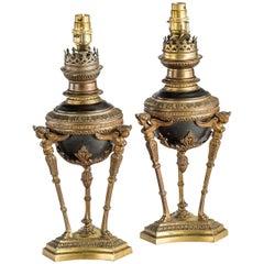 Pair of 19th Century Gilt Bronze Oil Lamps