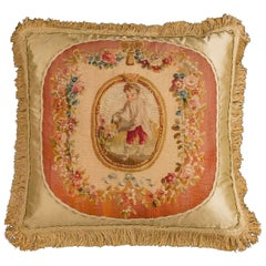 Cushion: 18th Century, Wool. A Child Gardening.