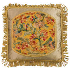 Cushion: Mid to Late 18th Century, Wool. Exotic Flowers on a Yellow Background