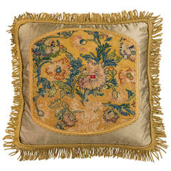 Mid to Late 18th Century Cushion. Exotic Flowers on Soft Gold