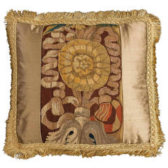 Cushion: Early 18th Century, Flemish Tapestry with a Silk Border