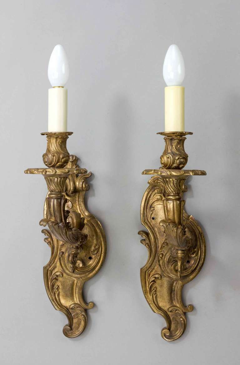 Set of Four 19th Century Gilt Bronze Wall Lights at 1stdibs