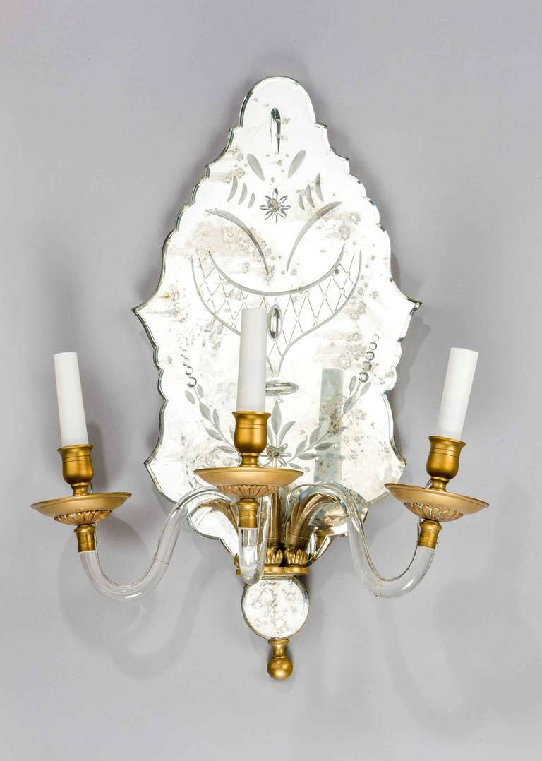 British Pair of Late 19th Century Three-Arm Wall Lights For Sale