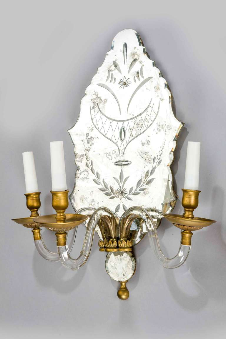 Metalwork Pair of Late 19th Century Three-Arm Wall Lights For Sale
