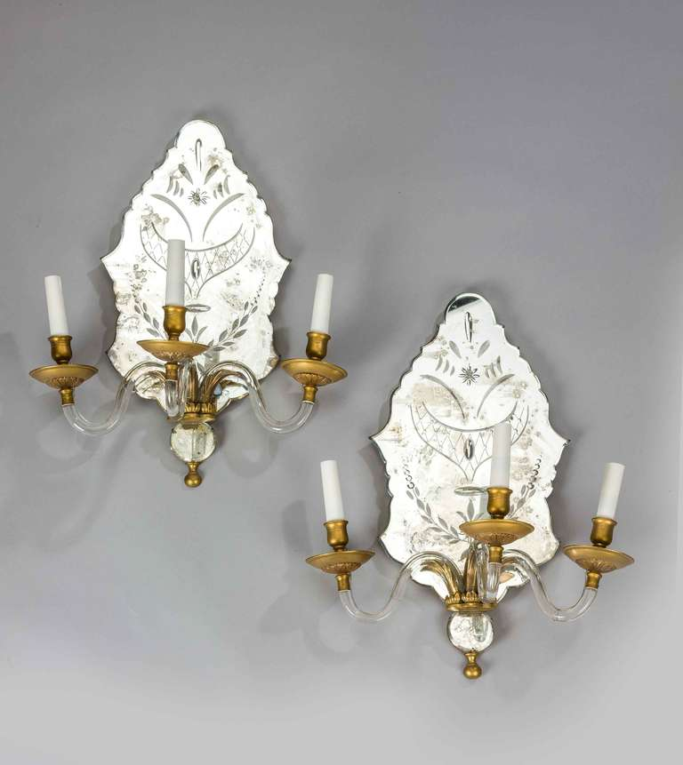 Pair of Late 19th Century Three-Arm Wall Lights In Excellent Condition For Sale In Peterborough, Northamptonshire