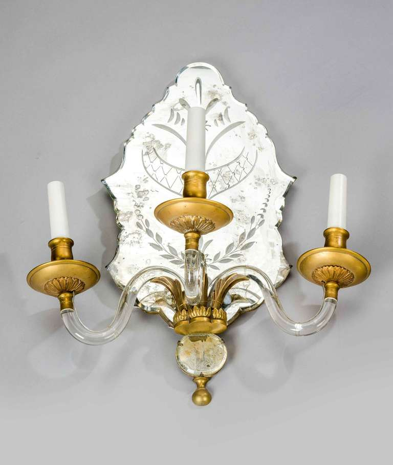 Pair of Late 19th Century Three-Arm Wall Lights For Sale 1