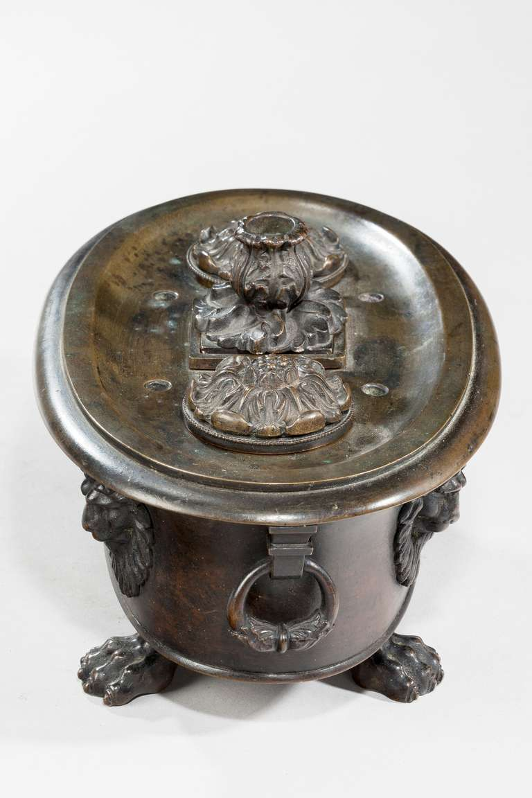 Regency Period Bronze Oval Encrier In Good Condition For Sale In Peterborough, Northamptonshire