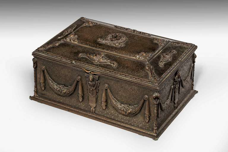 French bronze domed top Casket, the background decoration of very finely formed vines, garlands and neo-classical beads to the four sides.