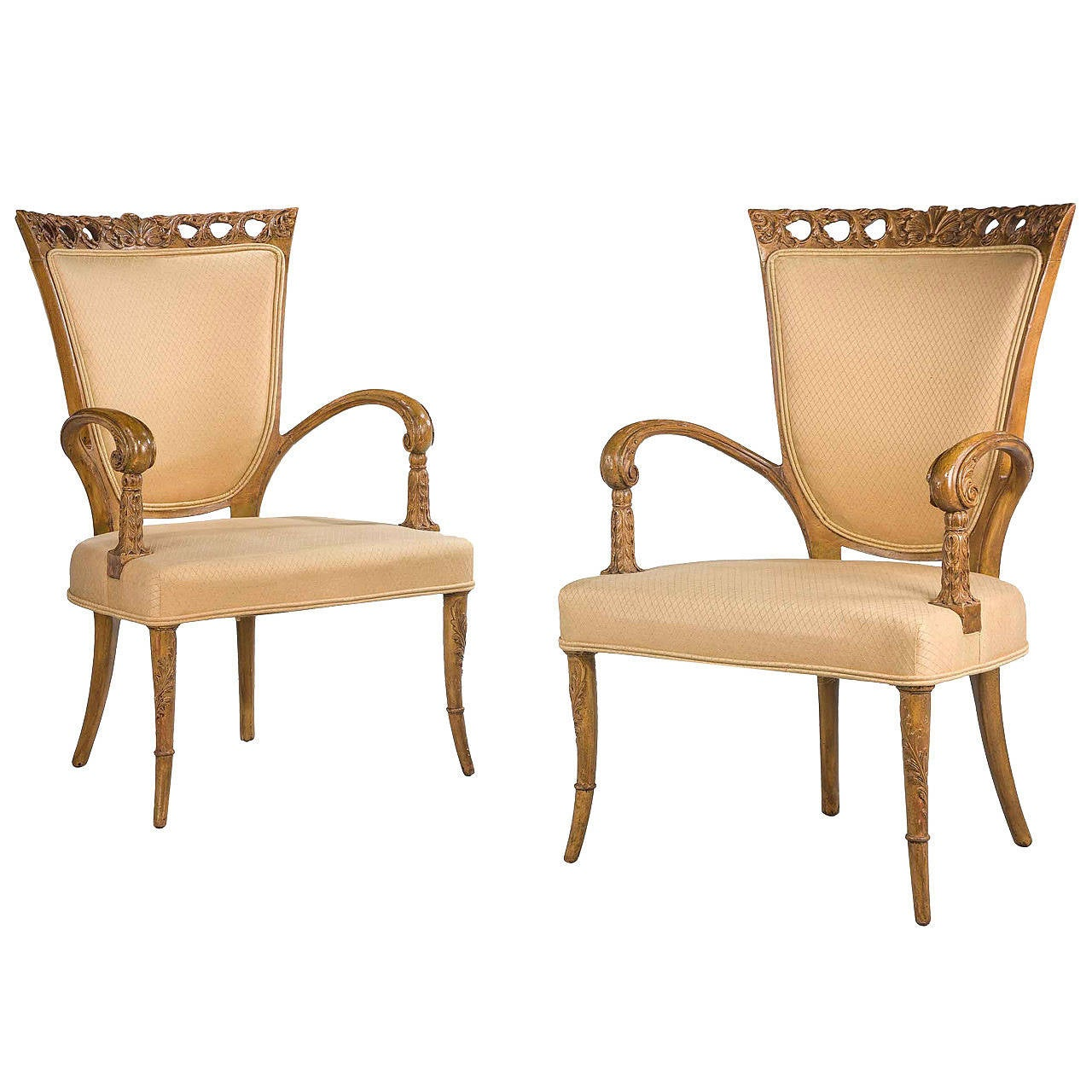 Pair Of Early 20th Century Beech Elbow Chairs At 1stdibs