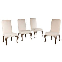 Set of Four Late 19th Century Oak Frame Chairs