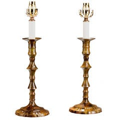 Pair of 'Antiqued' Brass Candlestick Lamps