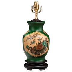 20th Century Single Green Ground Pottery Lamp