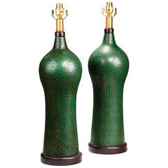 Pair of 'Skin' Decorated Lamps