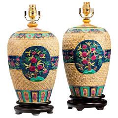 Pair of 20th century Decorative Pottery Lamps