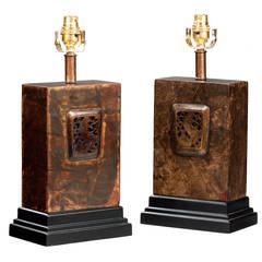Pair of 20th century Bronzed Rectangular Shape Lamps