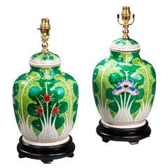 Pair of Ginger Jar Shaped Canton Lamps
