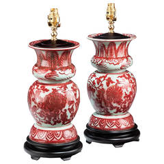 Pair of 20th century Crackle Ware Vase Lamps