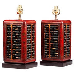 Pair of 20th century Abacus Lamps