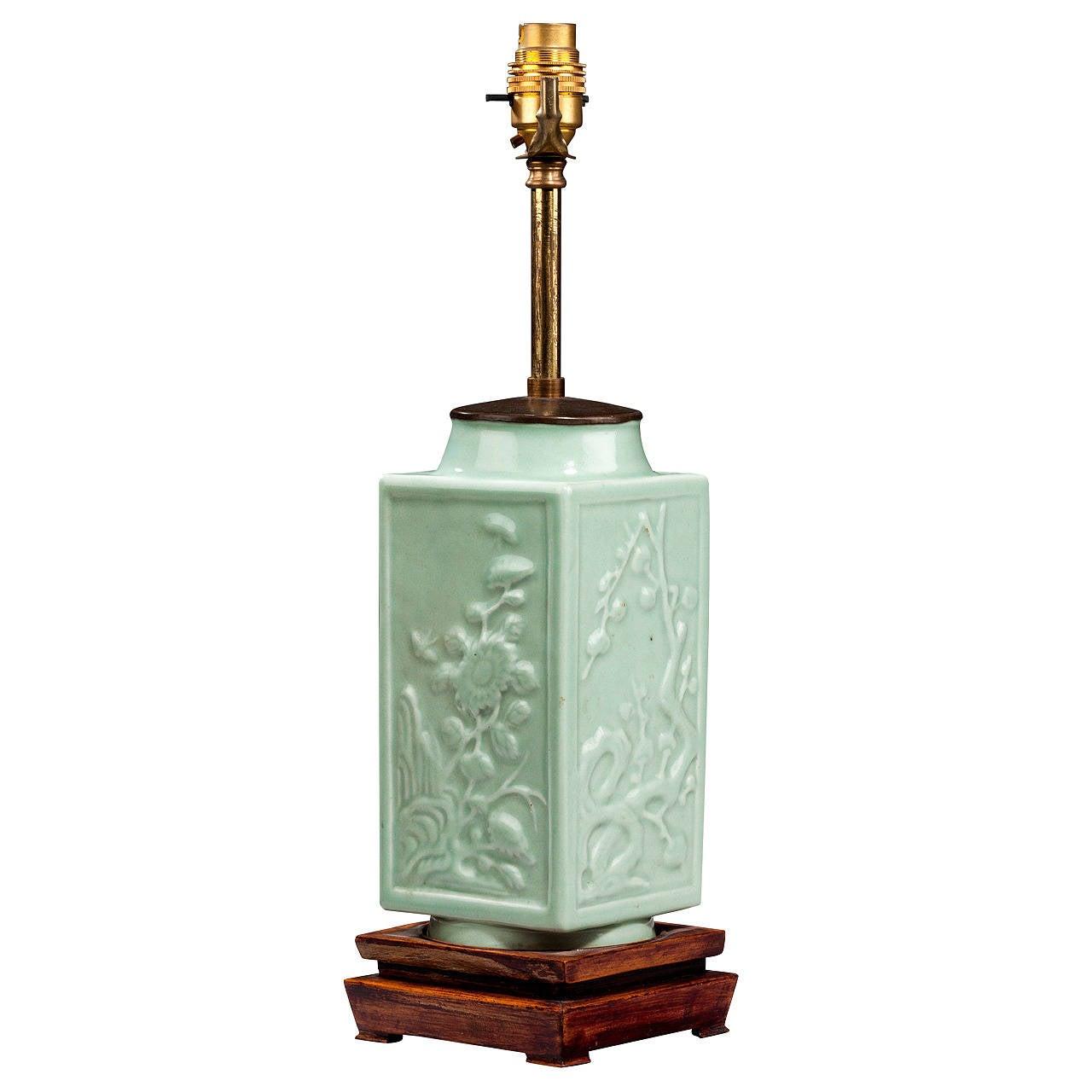20th century Single Celadon Green Lamp For Sale