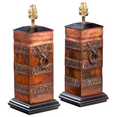 Pair of 20th century Bronze Finish Pottery Lamps