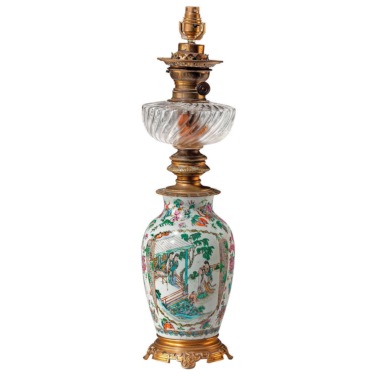 19th Century Canton Porcelain Oil Lamp For Sale