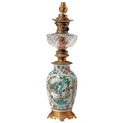 19th Century Canton Porcelain Oil Lamp