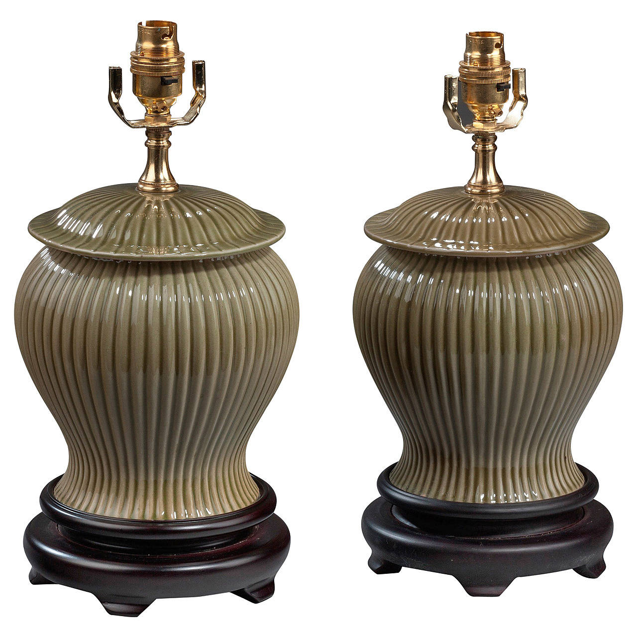 Pair of 20th century Ribbed Green Pottery Lamps For Sale