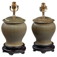 Pair of Ribbed Green Pottery Lamps