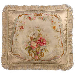 Cushion: 18th Century, Wool and Silk. Bouquet of Flowers