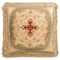 Cushion: 18th Century. Wool with Stylised Framework and Festoons