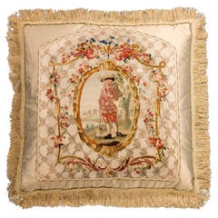 Cushion: Mid-18th Century, Silk. A Gardener Framed with Foliage