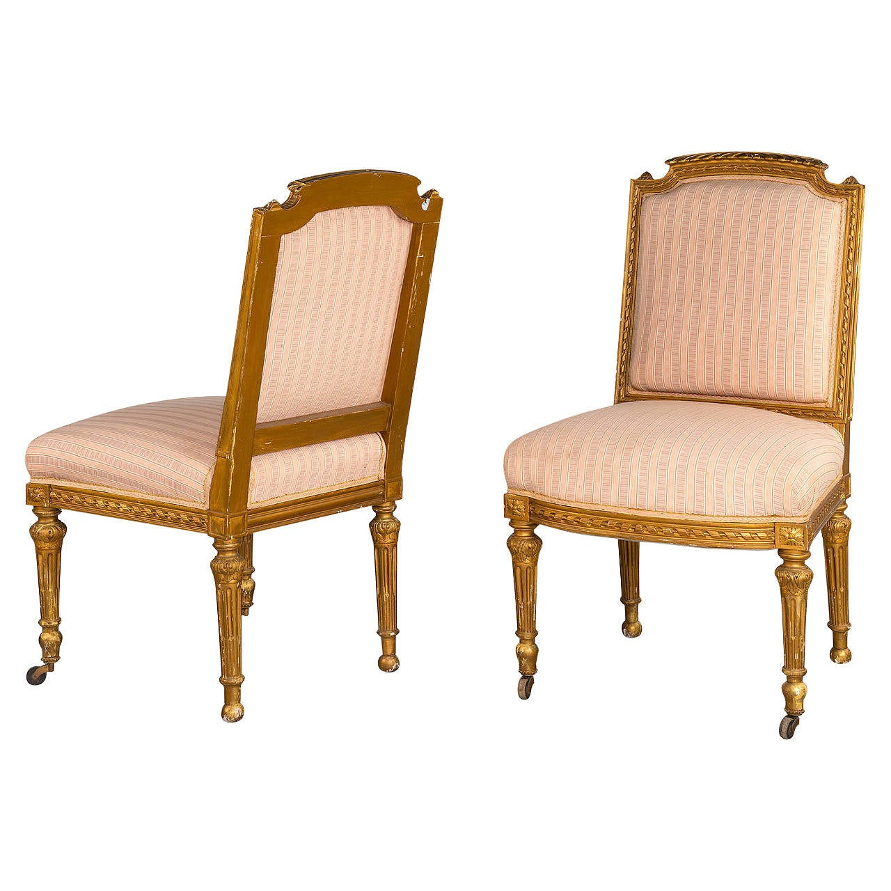 Pair Of Early 20th Century Giltwood Single Chairs