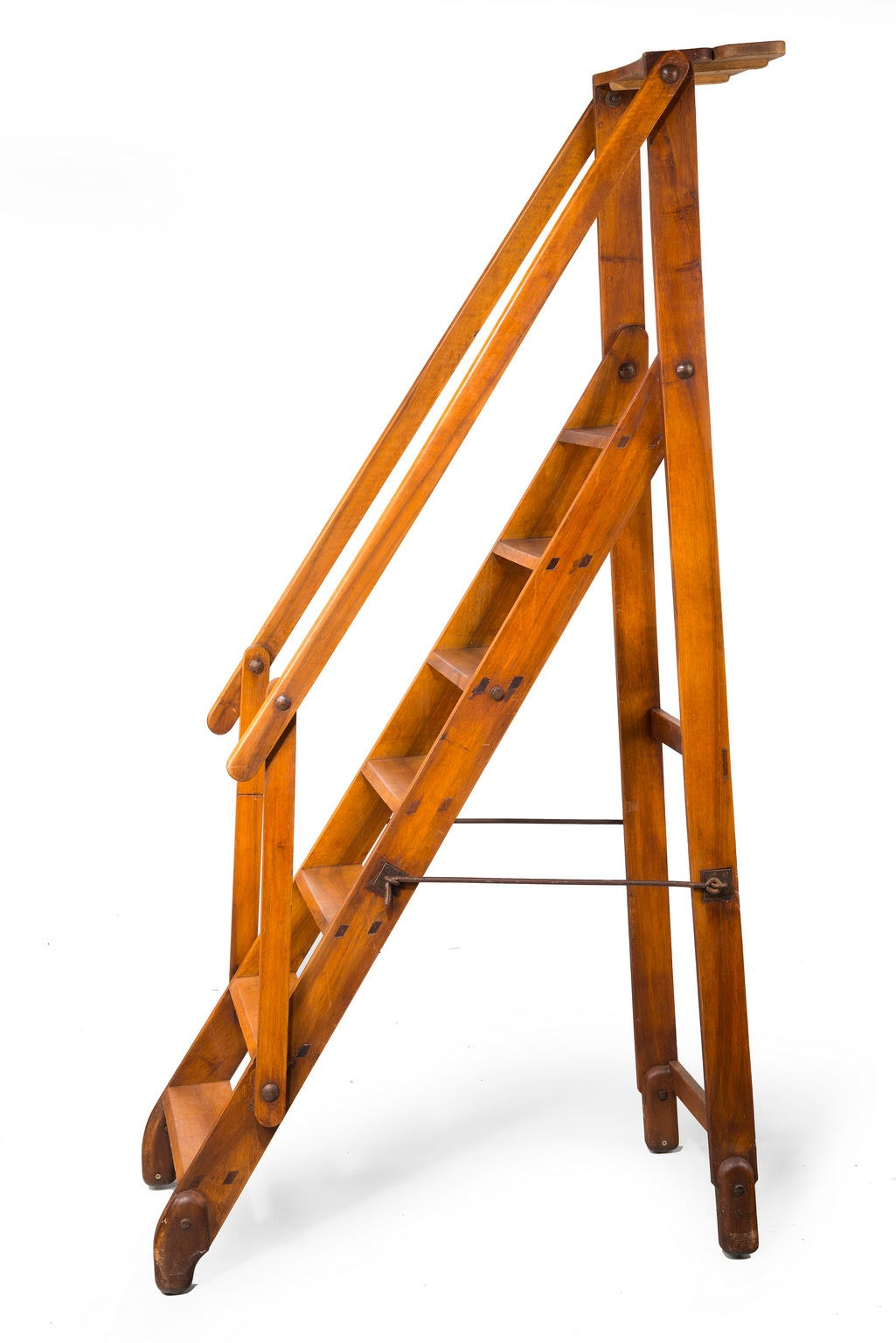 Early 20th Century Walnut Folding Library Ladder At 1stdibs