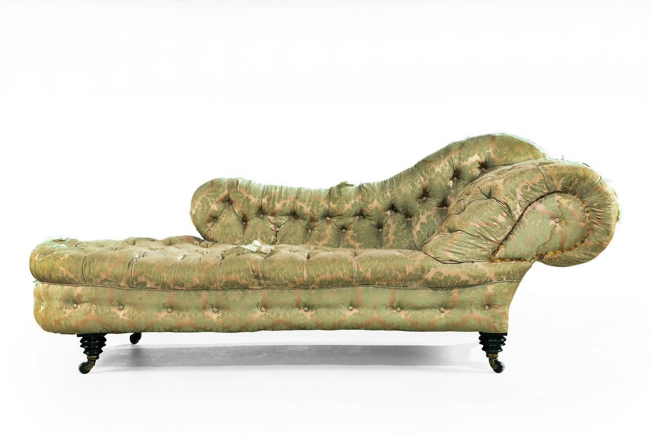 Mid 19th century mahogany frame chaise longue at 1stdibs for 19th century chaise lounge