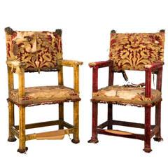 Pair of 17th Century Style Silk Velvet Covered Armchairs
