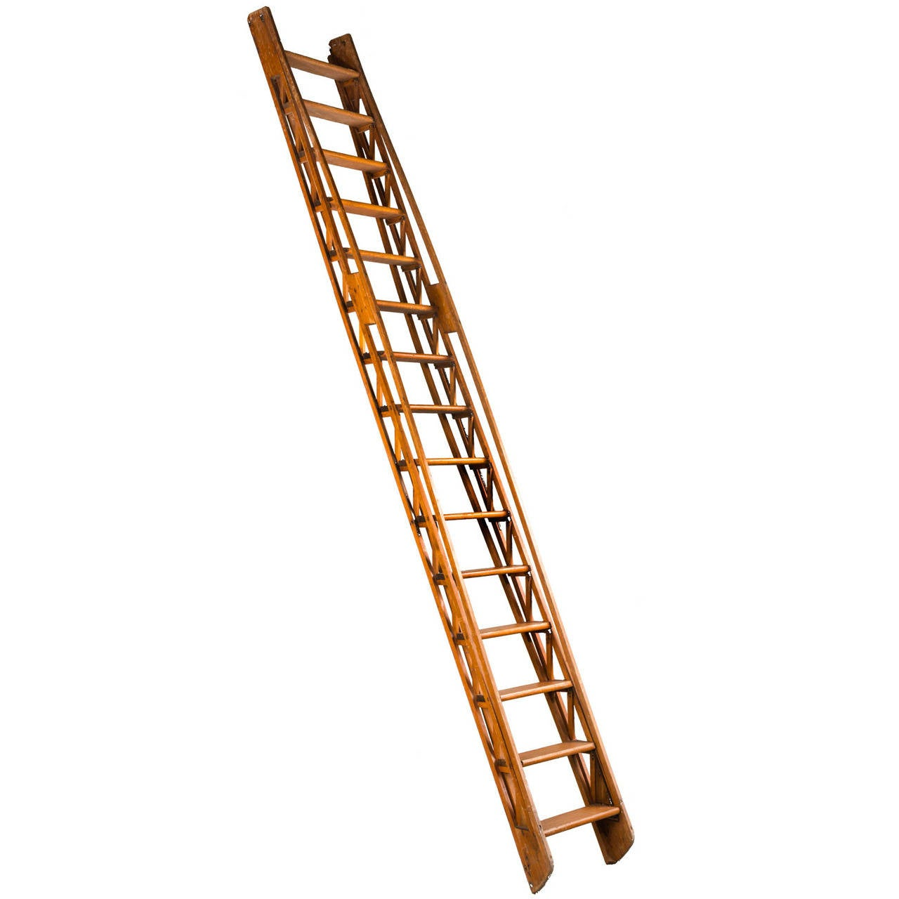 19th century pine leaning library ladder 1