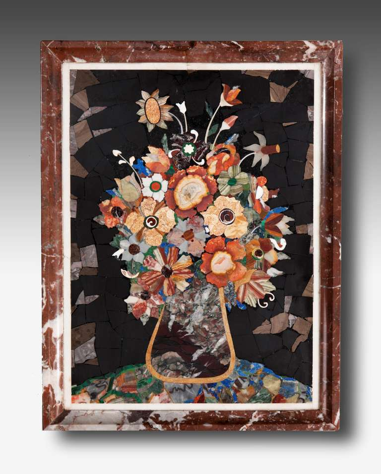 An exceptionally fine mid-19th century Pietra Dura panel, Italian.  Provenance: Pietra Dura is a term for the inlay technique of using cut and fitted, highly-polished colored stones to create images. It is considered a decorative art. The