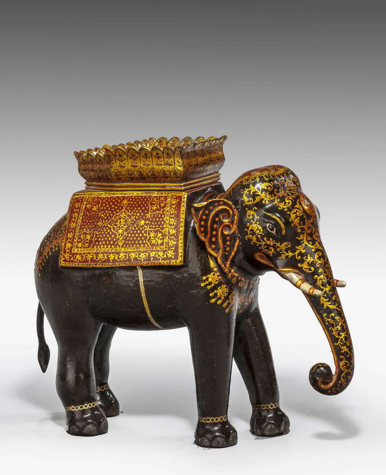 Early 20th Century Polychrome Caparisoned Elephant At 1stdibs