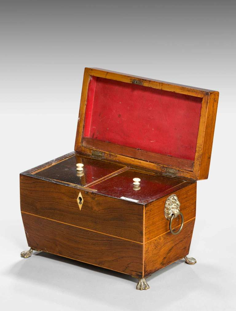 Regency period tea caddy, the edge with boxwood stringing, the interior retaining two original lids, bone turned knobs, four paw feet matching the lion's head handles.  Provenance:  The word tea caddy is believed to be derived from catty, the