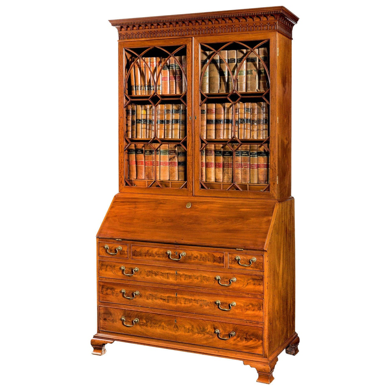 chippendale period mahogany bureau bookcase at 1stdibs. Black Bedroom Furniture Sets. Home Design Ideas