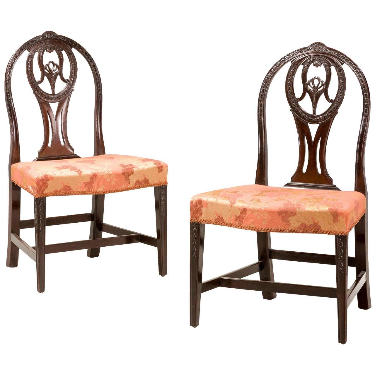 Pair of George III Irish Mahogany Chairs For Sale