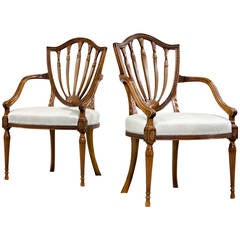 Pair of George III Period Satinwood Elbow Chairs