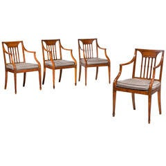 Set of Four George III Period 'Clifton' Satinwood Elbow Chair by Gillows