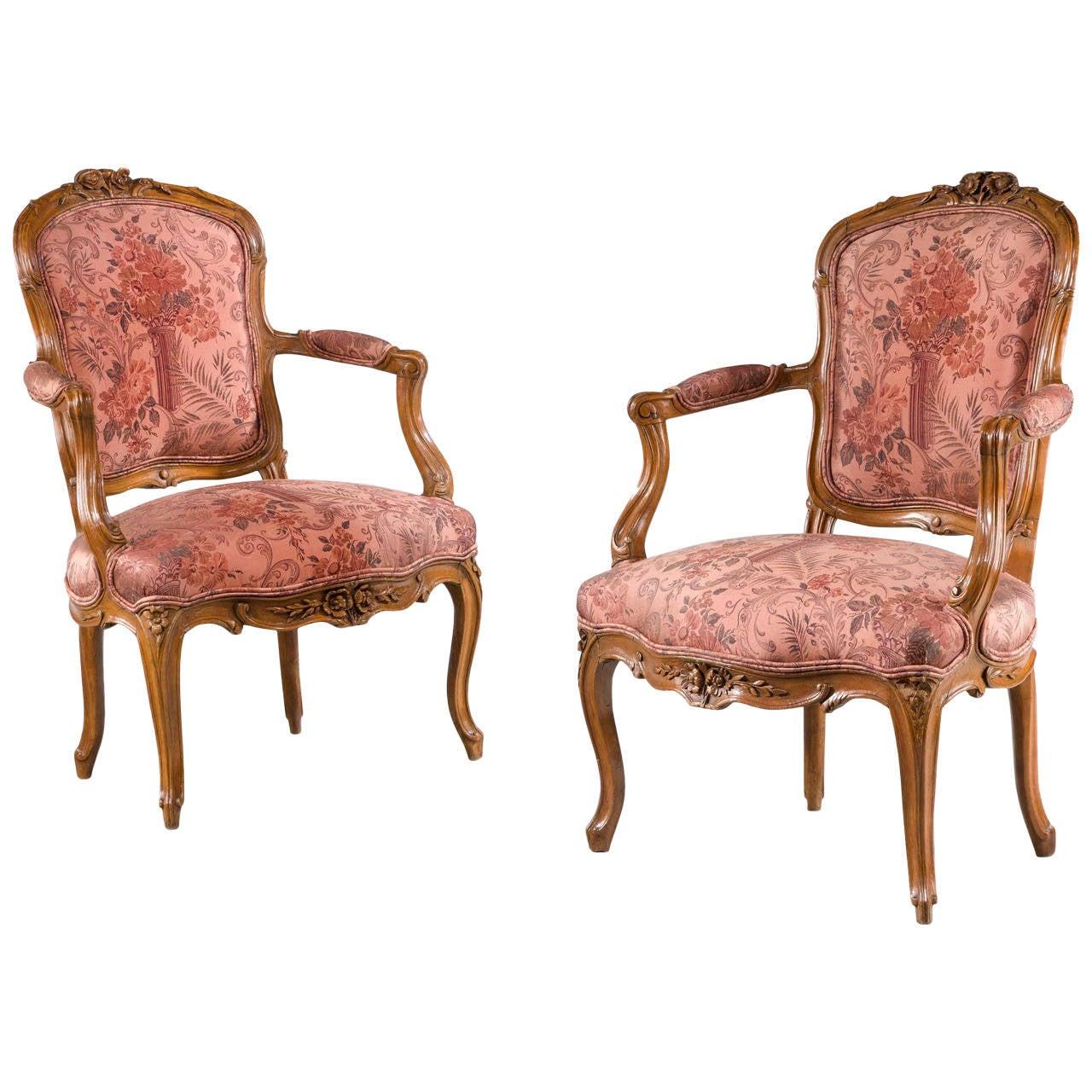 Pair of Louis XV Period Fauteuils
