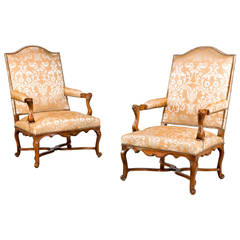Pair of Louis XIV Open Armchairs