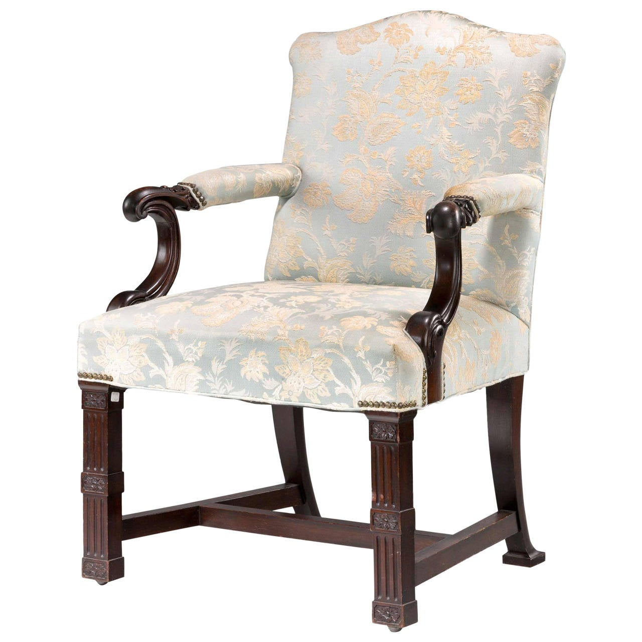 Chippendale Style Tufted Leather Library Chair By Schafer
