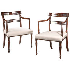 Pair of George III Period Mahogany Elbow Chairs