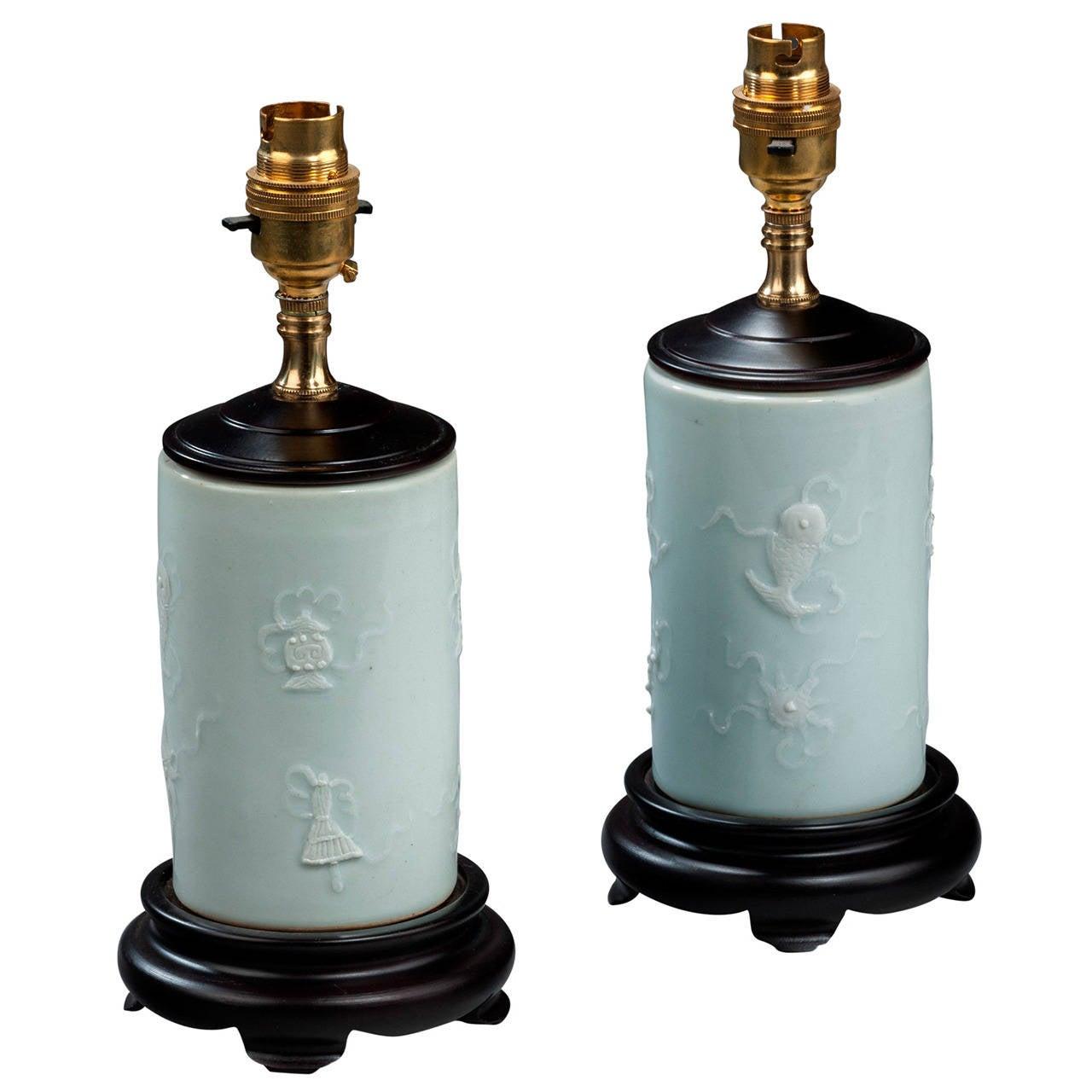 Pair of late 20th century Porcelain Brush Pot Lamps
