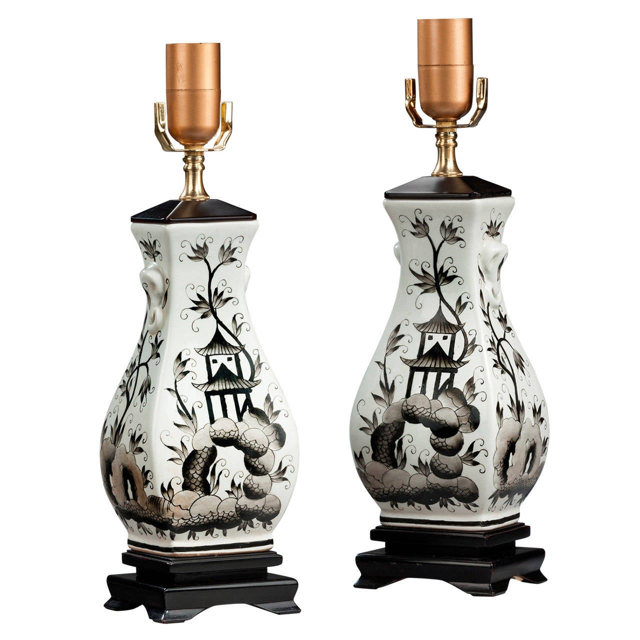 Pair of 20th century Ebonized Painted Lamps