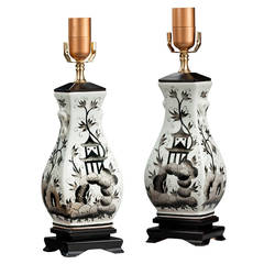 Pair of Ebonized Painted Lamps